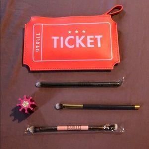 Brush lot of 3. Brush holder and ticket wristlet